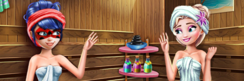 Na Sauna com a Ladybug e a Elsa